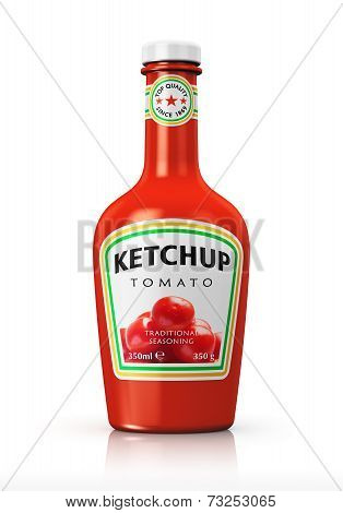 Bottle with tomato ketchup