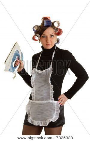 Housewife with Iron