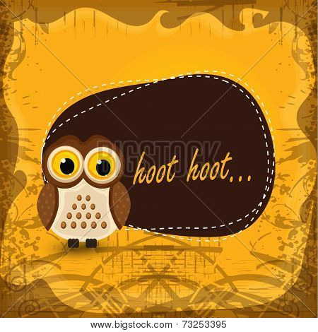 Scary owl with text Hoot Hoot in frame on stylish background.