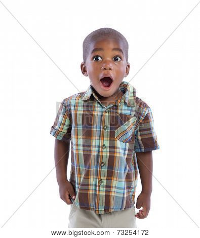 2 year old african american boy suprise expression sstanding wear casual outfit isolated on white background