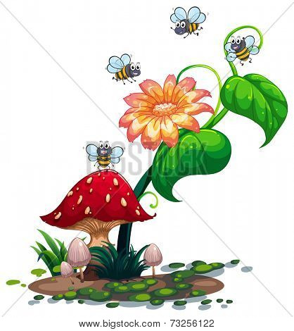 Illustration of the bees roaming around the plant with a flower on a white background