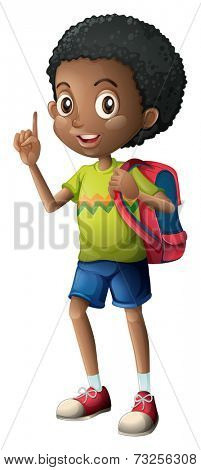 Illustration of a Black schoolboy on a white background