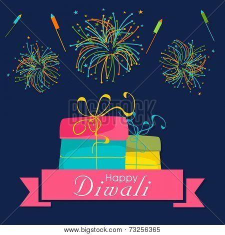 Diwali celebration with crackers, gift and stylish text of Happy Diwali.