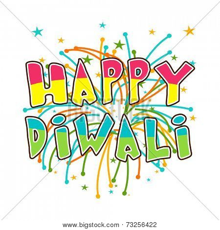 Diwali celebration with stylish text of Happy Diwali.