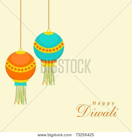 Celebration of Diwali with hanging and stylish text of Happy Diwali.