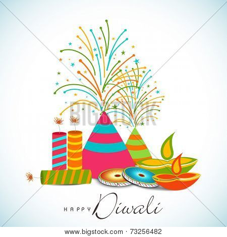 Diwali celebration with exploding crackers and stylish text of Diwali on shiny sky blue and white background.