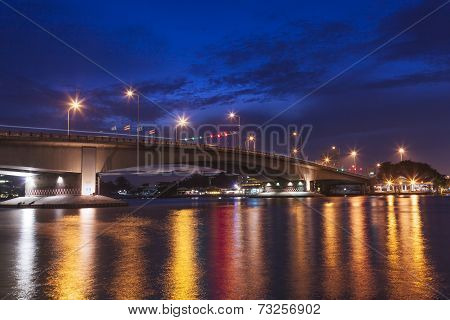 Bridge Over River In The Evening.