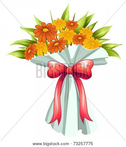Illustration of a boquet of yellow and orange flowers on a white background
