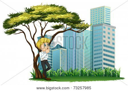 Illustration of a man smoking under the tree across the buildings on a white background