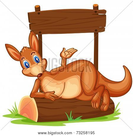 Illustration of a kangaroo under the empty wooden signboard on a white background