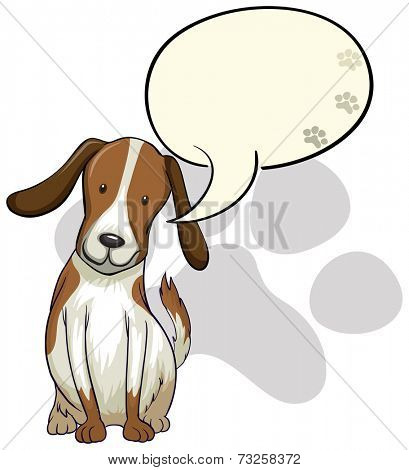 Illustration of a dog thinking on a white background