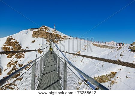 Suspension Bridge At Mountains Ski Resort - Austria