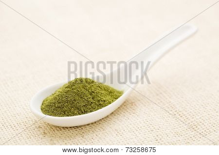 organic wheatgrass powder on a white Chinese spoon against burlap canvas