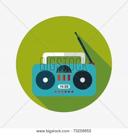 Radio Flat Icon With Long Shadow,eps10