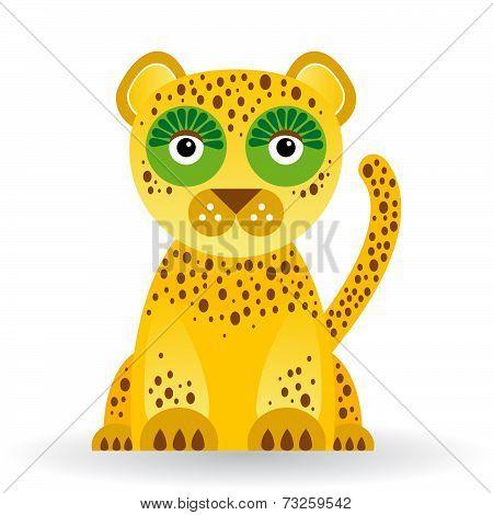 Funny Jaguar On White Background. Vector