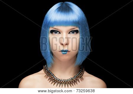 Anime Girl With Blue Hair On Black Background