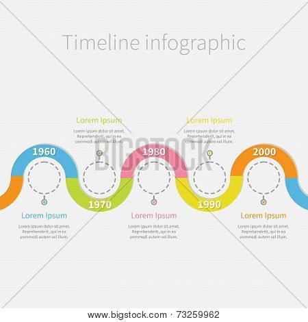 Timeline Infographic With Snail Colored Ribbon, Empty Dash Line Circles And Text. Template. Flat Des