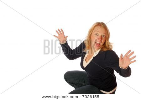 Woman with showing excitement