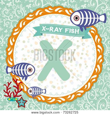 Abc Animals X Is X-ray Fish. Childrens English Alphabet. Vector