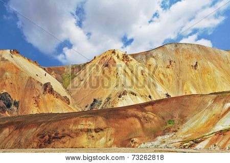 Iceland in July. Pink and orange Mountains National Park Landmannalaugar