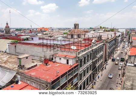 Day View Of Mexico City Zocalo From Roofs