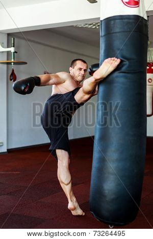 Kickboxer training in the gym kicking the punch bag