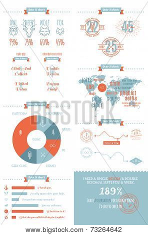 vector info graphics set in the style of a hipster. Trendy Retro Vintage Insignias.
