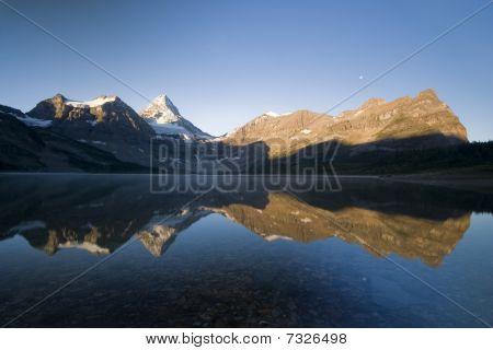 mountain range at lake
