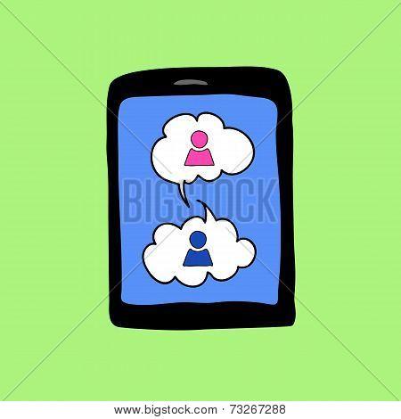 Doodle pad with speech bubbles