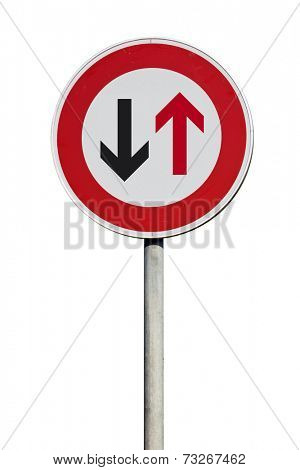 Traffic Sign give way to traffic from opposite direction isolated
