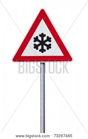 Slippery in winter Traffic sign with snowflake isolated with clipping path