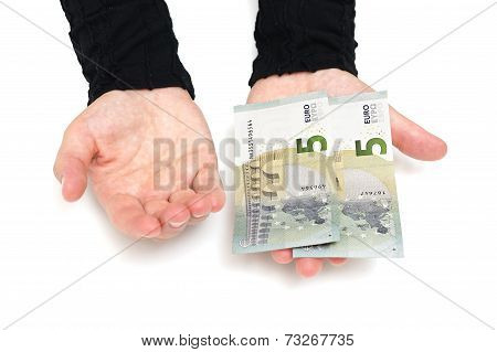 Woman Hand Wants More Money