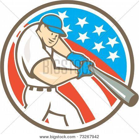 American Baseball Player Batting Circle Cartoon