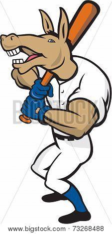 Donkey Baseball Player Batting Cartoon