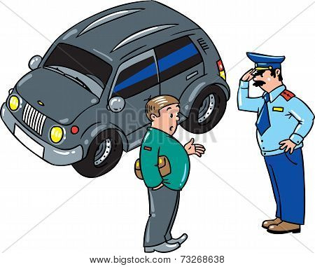Policeman stopped the car, talking with the driver