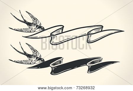 Vintage illustration of bird holding ribbon