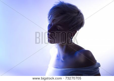 Beautiful Artistic Portrait Of A Calm Relax Young Sensual Woman With Stylish Hair