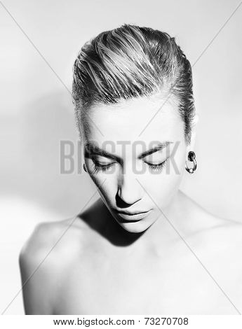 Beautiful Artistic Portrait Of A Calm Relax Young Woman With Stylish Hair, Black And White