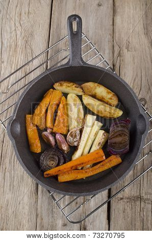 Roasted Vegetable In Cast Iron Pan