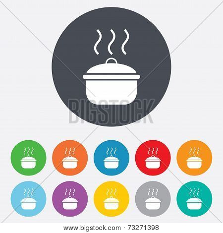 Cooking pan sign icon. Boil or stew food symbol.