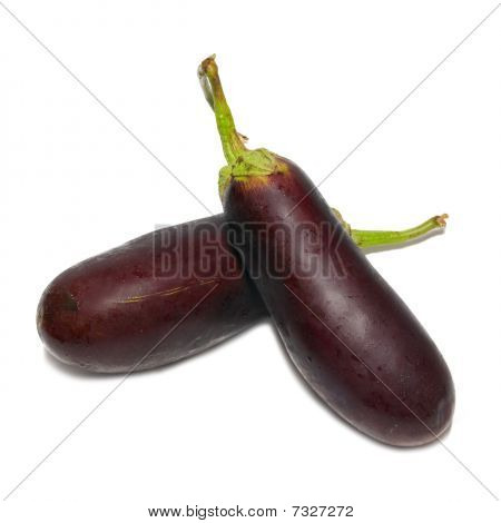 Two Purple Aubergines Isolated On White.