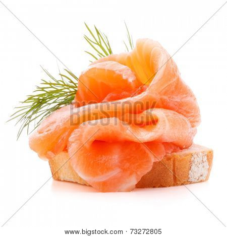 sandwich or canape with salmon on white background  cutout