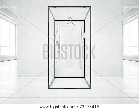 White T-shirt In The Loft On The Concrete Wall Background