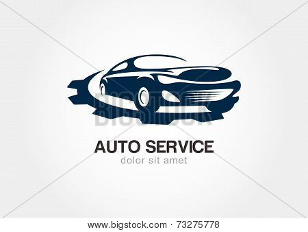 Illustration Of Abstract Sport Car With Gears Cogs. Vector Logo Design Template