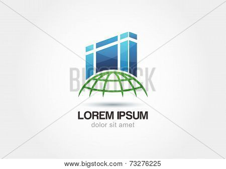 Abstract Silhouettes Architecture On Globe. Design Concept For Real Estate Agencies. Vector Logo Ico