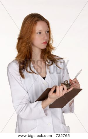 Medical Professional writing on Clipboard