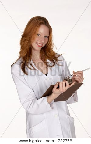 Smiling Medical Professional with Clipboard
