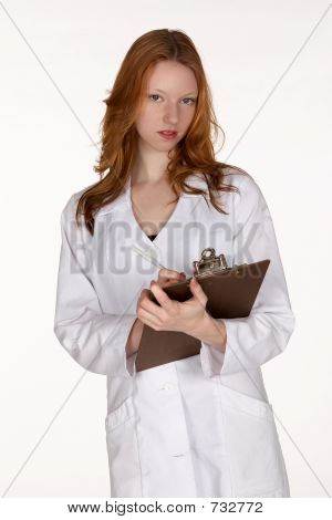 Medical Professional with Pen and Clipboard