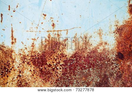 Old Blue Grunge Metal Wall With Red Rust, Background Texture