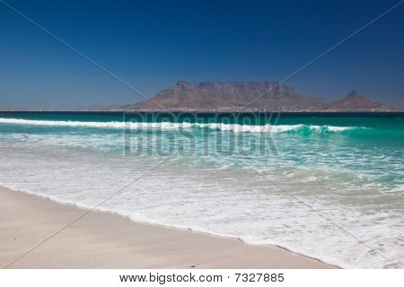 Table Mountain from Bloubergstrand Beach